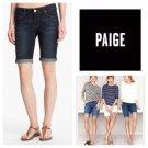 NWT PAIGE Premium Denim 27 Bermuda shorts stretch dark wash cuffed rolled blue