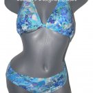 NWT GOTTEX swimsuit bikini 6 halter blue green abstract multi color