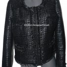 NWT VERTIGO Paris XL dressy jacket blazer coat black silver metallic $360 career