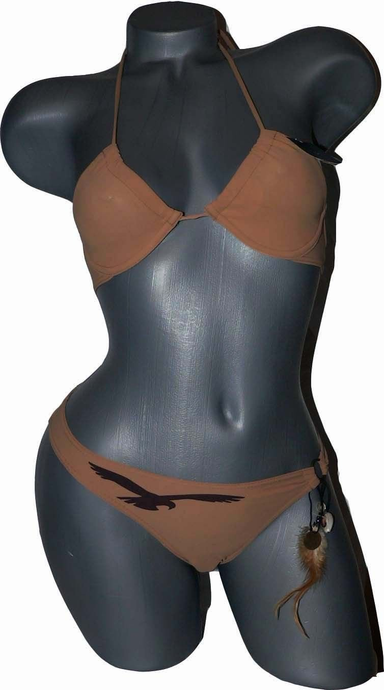 NWT HUIT Plage  bikini swimsuit feathers France 6 30B designer 2 pc caramel