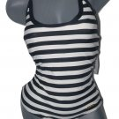 NWT DKNY swimsuit 10 halter maillot striped black cream Donna Karan New York