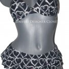 NWT BETSEY JOHNSON S designer swimsuit skirtini ruffled push up bikini hearts