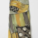 ERMENEGILDO ZEGNA abstract tie necktie short gold green silk fine Italy