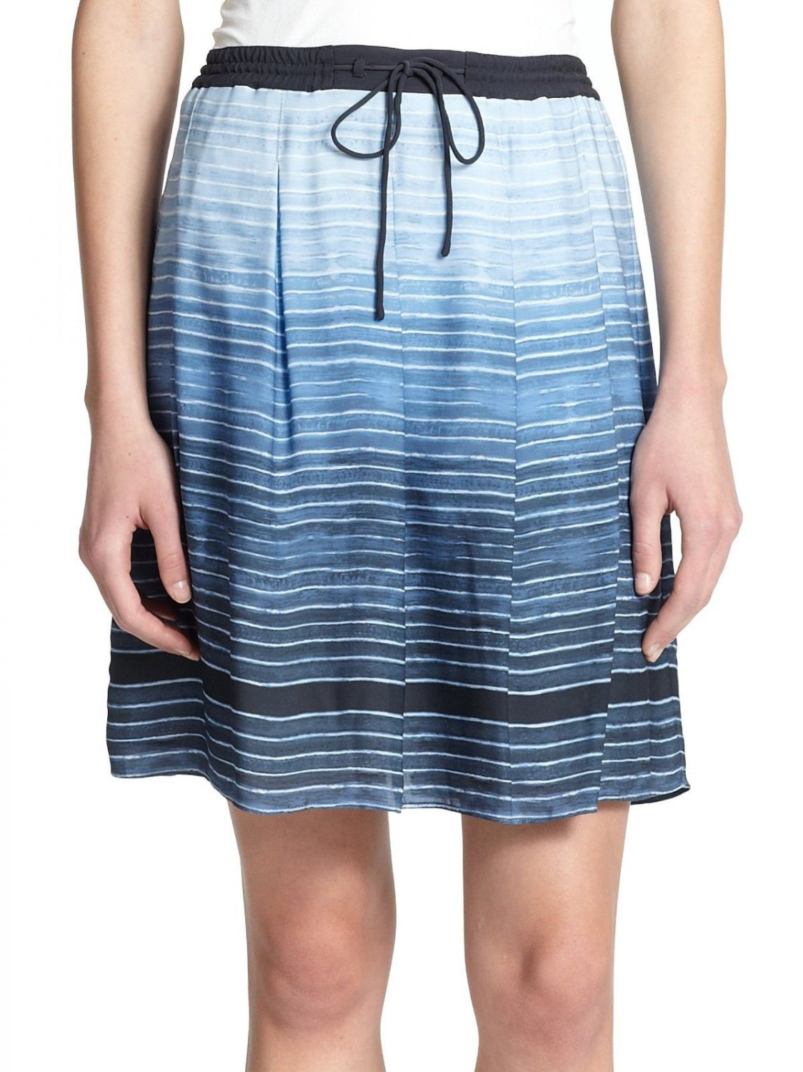 NWT VINCE XL skirt Ombre SILK in French Blue $275 striped mini pleated lined