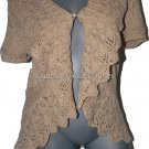 NWT RALPH LAUREN ruffled hand knit sweater L $399 Sierra tan cardigan career