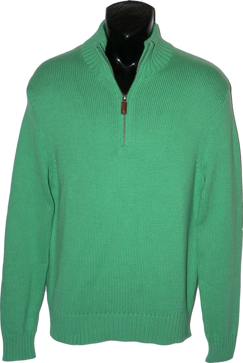 New POLO RALPH LAUREN S Cashmere Cotton sweater $200 half zip pullover green
