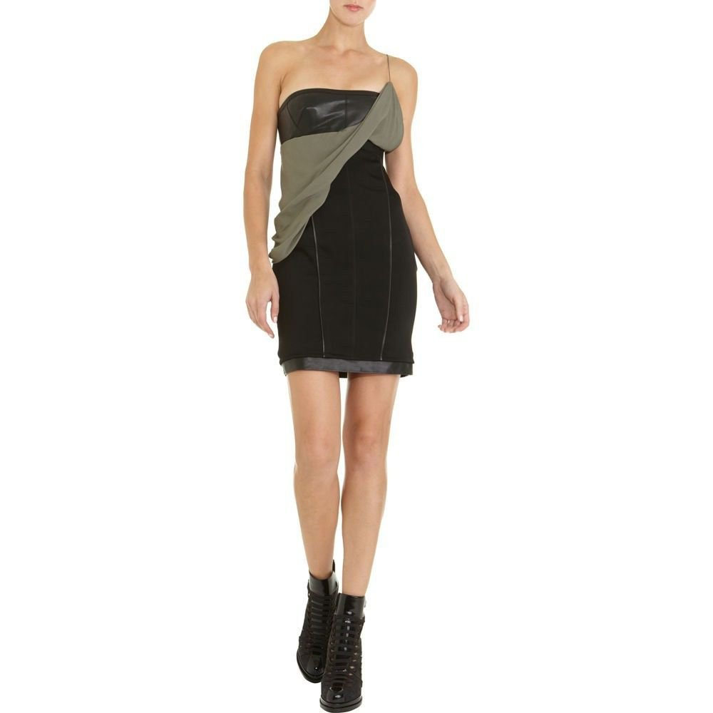 NWT ALEXANDER WANG 6 fitted dress draped sash leather runway $695 couture black