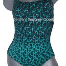 NWT MARC JACOBS swimsuit M leopard high-end 1PC animal print green halter