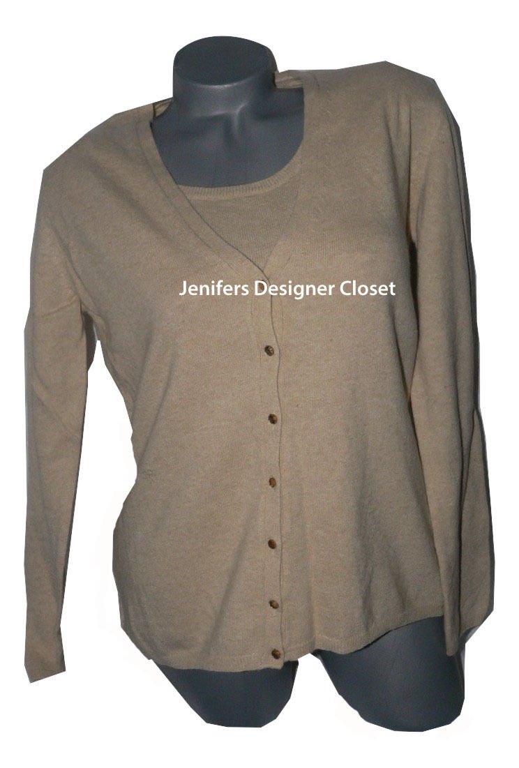 NWT BASILE Paris L twinset sweater set 2PC honey beige wool cashmere blend