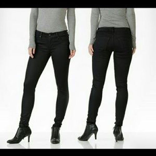 NWT DYLAN GEORGE 24 coated denim black skinny jeans stretch designer ankle