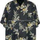 TOMMY BAHAMA L gray Hawaiian Camp Shirt SILK Excellent men's resort S/S cruise