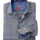 NWT ROBERT GRAHAM shirt S black blue plaid contrast cuffs designer $248
