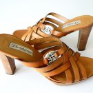 NWT BRIGHTON honey leather 10 slides heels sandals shoes woven designer