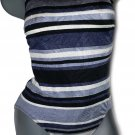 NWT CAZIMI maillot swimsuit designer 10 C cup bra sized striped gray black