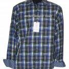 NWT ROBERT GRAHAM L shirt blue green white plaid with contrast cuffs Putignano