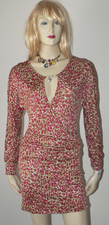 NWT ADELE FADO designer mini dress Italy wrap 40 2 long sleeve multi color