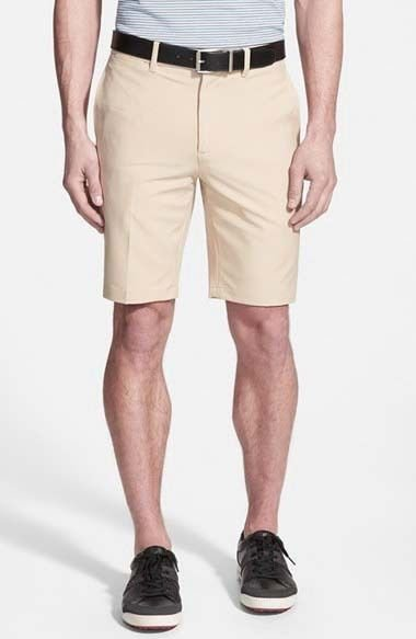 NWT BOBBY JONES Golf shorts 32 flat front moisture wicking khaki $95