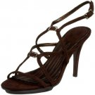 New CHARLES DAVID strappy sandals 9 suede dark brown shoes heels high ankle