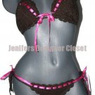 NEW ANNA KOSTUROVA crocheted bikini S swimsuit designer chocolate pink ribbon