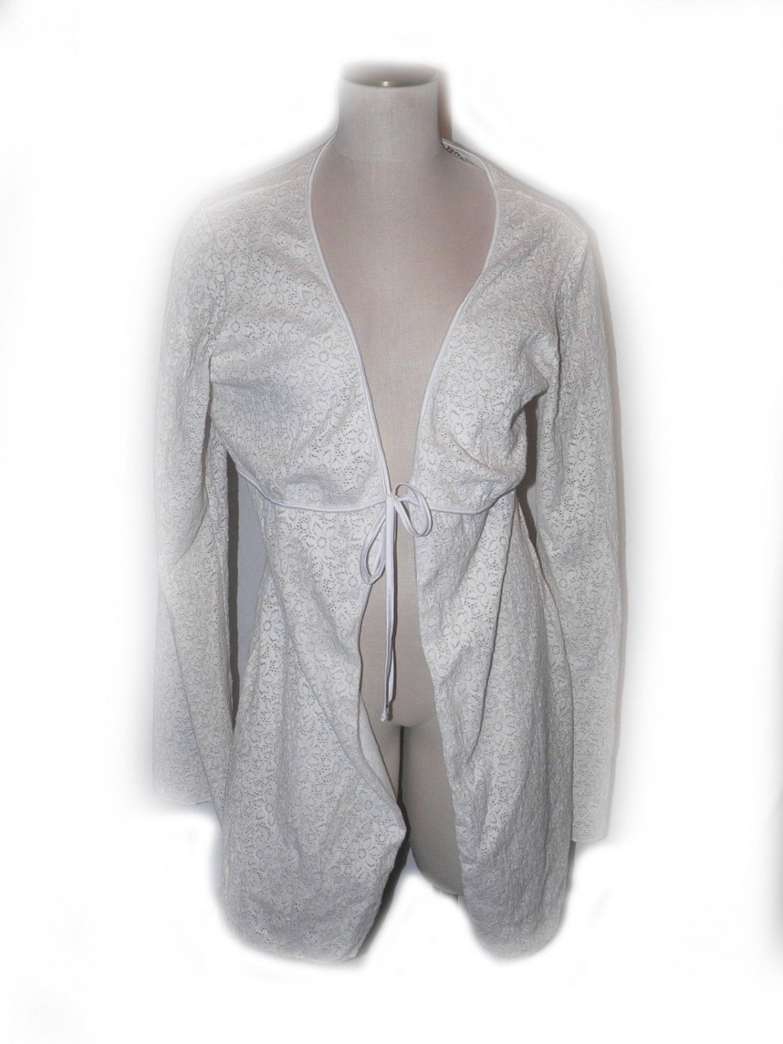 New COSABELLA L white stretch lace robe swimsuit cover up heavyweight white ties