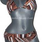 NWT TRINA TURK bikini swimsuit 8 triangle slide brown tan white