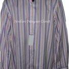 NWT ROBERT GRAHAM Size-17 dress shirt with sheen broken stripe contrast cuffs