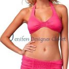 NWT JUICY COUTURE swimsuit bikini smocked skirted $181 P XS dragon fruit pink
