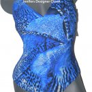 NWT GOTTEX swimsuit 8 abstract maillot adjustable straps v-neck blue flattering