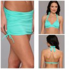 NWT BADGLEY MISCHKA 8 swimsuit skirted bikini mint adjustable coverage bottoms