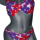 New GOTTEX underwire swimsuit bikini hawaiian 8 D DD fuller cup top multi-color