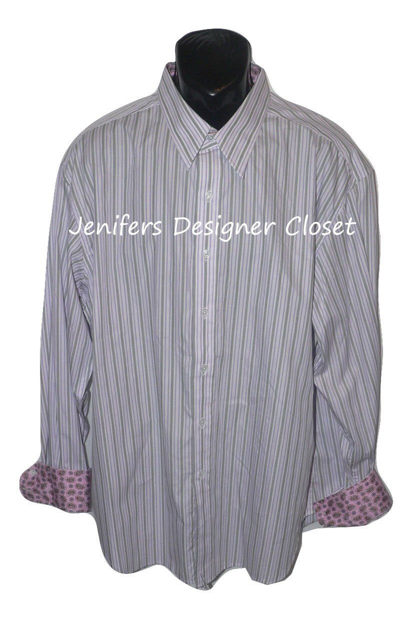 New ROBERT GRAHAM shirt 2XL gray purple striped w/ contrast cuffs pink paisley
