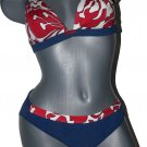 NWT MARYAN MEHLHORN Lidea blue denim red floral bikini swimsuit 10 C Germany