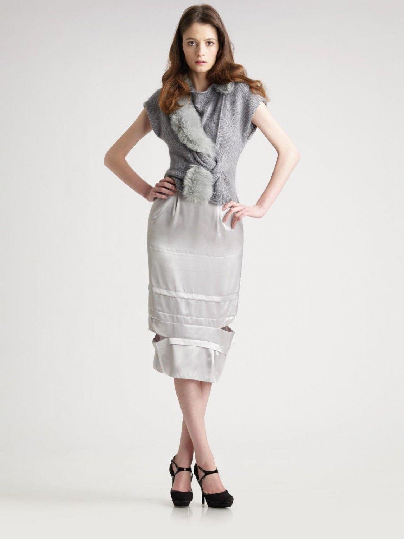 NEW NINA RICCI Paris pencil skirt 42 10 satin with cutouts $1,390 silver runway