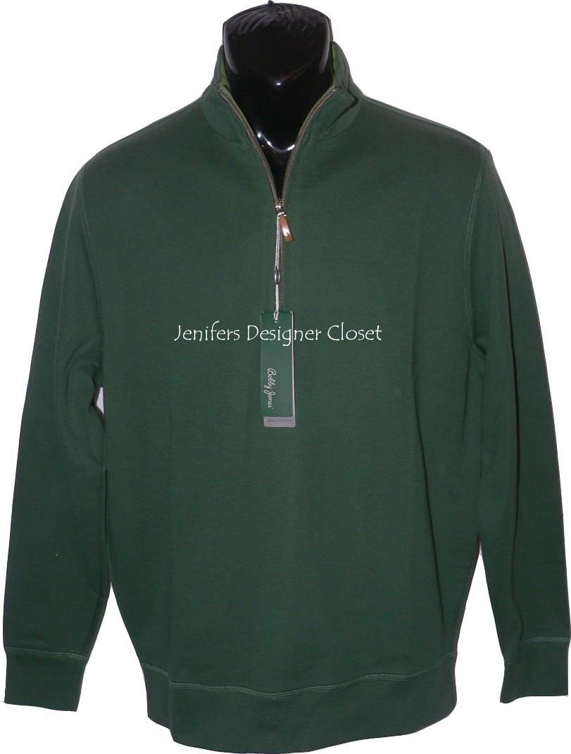 NWT BOBBY JONES Golf  S Pima cotton pullover 1/4 zip monogram neck hunter green