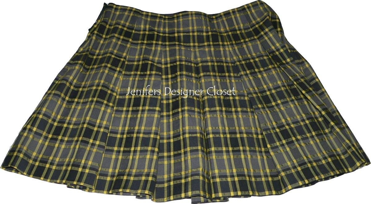 NWT THEORY 8 pleated mini skirt $295 yellow charcoal plaid designer schoolgirl