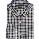 NWT JOHN VARVATOS dress shirt 14.5 32/33 black plaid cotton slim fit designer S