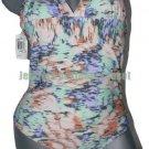 NWT SHOSHANNA swimsuit M/L B Cup halter high-end designer pastels v-neck