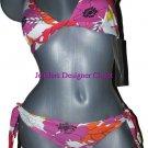 NWT GOTTEX designer bikini swimsuit bright floral 8 Israel halter orange pink