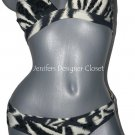 NWT RED CARTER South Beach S designer swimsuit bikini zebra black sequins 2PC
