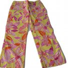 NWT LILLY PULITZER 0 XS cropped capris pants Liza Pacific yellow orange pink
