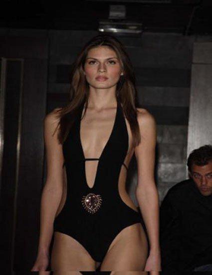 NEW PIEDRAS Italy plunging monokini swimsuit sexy $395 II black w/beads stones