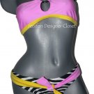 NWT LE DOUX bikini swimsuit S zebra pink yellow choker celebrity sexy designer