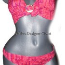 NWT GOTTEX designer swimsuit bikini 8 electric pink $200 Israel sexy halter 2 PC