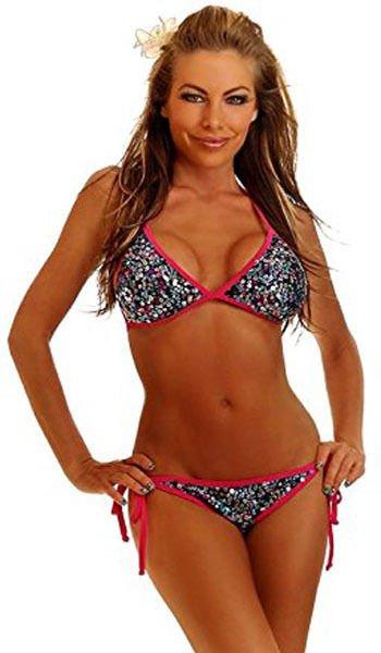 NWT DAISY BEACHWEAR M confetti sequin pucker-back bikini swimsuit 2PC sexy side