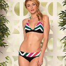 NWT BECCA Rebecca Virtue M bikini swimsuit Chevron stripe print bold halter Sexy