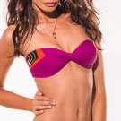 NWT L SPACE XS swimsuit bikini 2PC color block berry strapless bandeau sexy