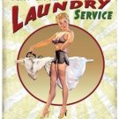 Fluff & Fold Laundry Service, Funny Retro Pin-up Girl Home, Small Metal/Tin Sign
