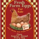 Fresh Farm eggs, Vintage Advert, Cafe Kitchen Chicken Shop, Small Metal/Tin Sign