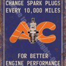 AC Spark Plugs Vintage 133 Engine Mechanic Old Advertising, Small Metal/Tin Sign