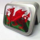 Welsh Flag Red Dragon St David Wales Cigarette Tobacco Storage 2oz Hinged Tin